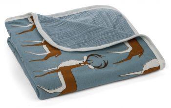 Organic Cotton Stroller Blanket – Blue Buck