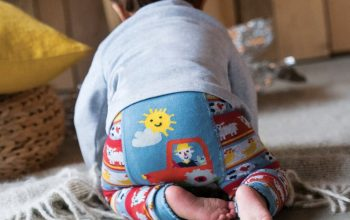 Little Knitted Baby Leggings – Tractor Fairisle – Organic Cotton
