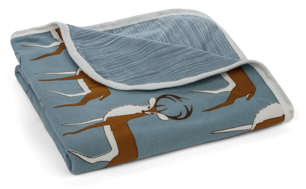 Organic Cotton Stroller Blanket – Blue Buck